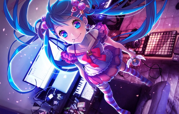 Picture computer, girl, wire, apple, wings, art, microphone, keyboard, vocaloid, hatsune miku, Vocaloid, synth, stom, yamori