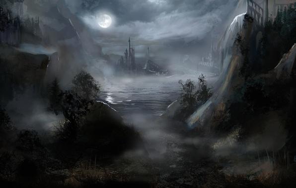 Wallpaper The Moon, Water, Night, Art, Fog, Fiction