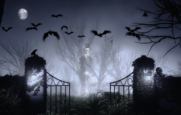 Picture skull, mystic, The moon, cemetery, bat, Halloween, Ghost