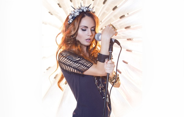 Picture girl, style, sweetheart, hair, microphone, singer, red, beautiful, redhead, Maksim, Marina Maksimova