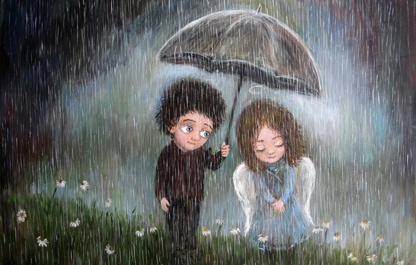 Picture umbrella, rain, mood, boy, art, pair, girl, feeling, Nino Chakvetadze