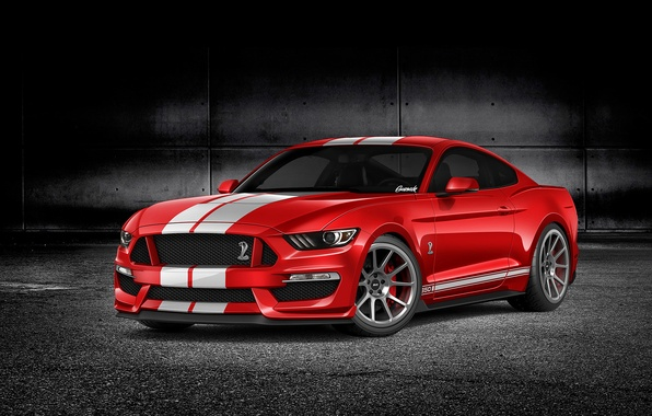Picture red, rendering, Mustang, Ford, Mustang, red, muscle car, Ford, muscle car, rendering, GT350, by Gurnade