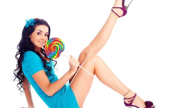 Picture flower, girl, face, pose, smile, hair, the sweetness, makeup, dress, white background, heels, Lollipop, legs, …