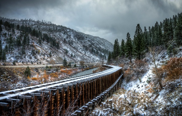 Picture road, autumn, snow, trees, mountains, river, rails