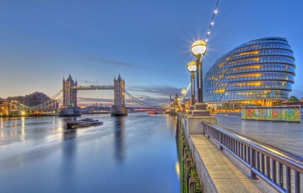 Picture river, England, London, lights, Thames, Tower bridge, promenade, Tower Bridge, London, England, River Thames, City …
