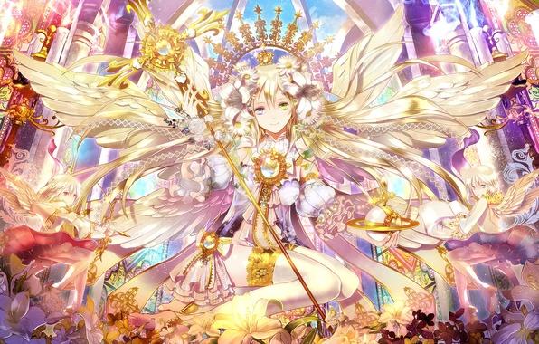 Picture flowers, Girl, wings, bow, staff, arrows, heterochromia