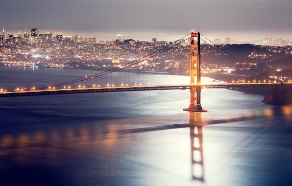 Picture night, bridge, lights, San Francisco, golden gate bridge