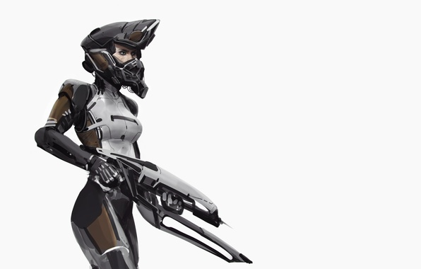 Picture girl, weapons, background, fiction, art, costume, helmet, sci-fi