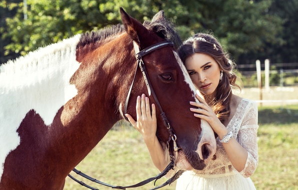 Picture summer, girl, the sun, nature, mood, horse, dress, brunette, walk, beautiful, in white