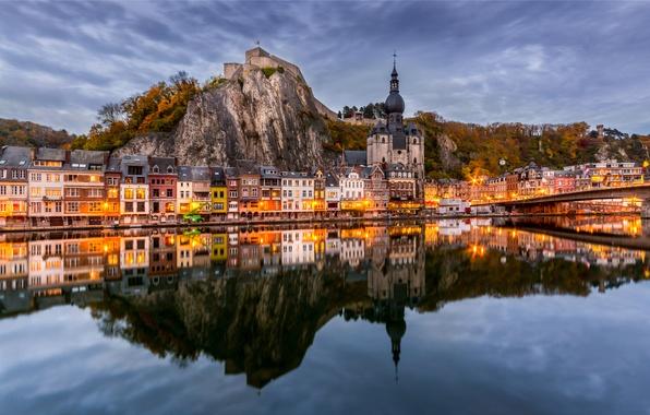 Picture mountains, bridge, reflection, river, building, Church, panorama, Belgium, promenade, Belgium, Dinant, Namur, NAMUR, the river …