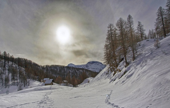 Picture winter, the sky, the sun, clouds, snow, mountains, home