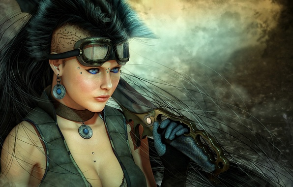 Picture girl, weapons, sword, piercing, tattoo, art, glasses, knife, tattoo, cyberpunk, Mohawk, blade