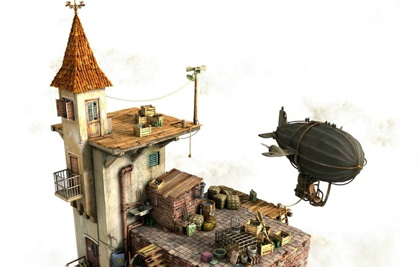 Picture house, yard, the airship