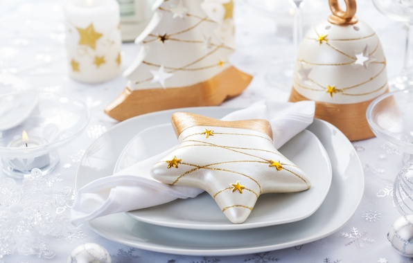 Picture winter, table, star, candles, devices, New Year, Christmas, dishes, the scenery, Christmas, figures, holidays, New …