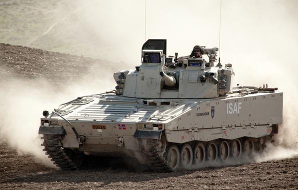 Picture machine, dust, combat, infantry, Swedish, CV 9030NF1