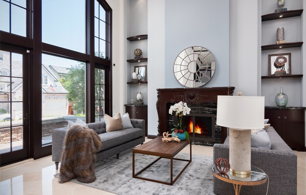 Picture design, sofa, mirror, window, fireplace, table, living room, decor, shelves