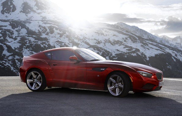 Picture the sky, mountains, red, coupe, BMW, BMW, Coupe, the front, Zagato, Zagato