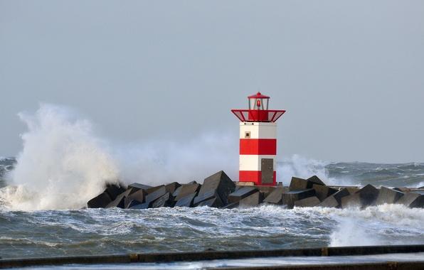 Picture storm, lighthouse, braid, Netherlands, North sea, Scheveningen, Scheveningen