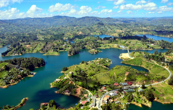 Picture river, panorama, Colombia, Islands, Guatape