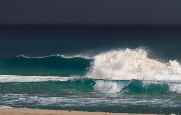 Picture sea, wave, the sky, foam, clouds