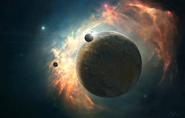Picture energy, space, stars, nebula, planet, glow, art, satellites