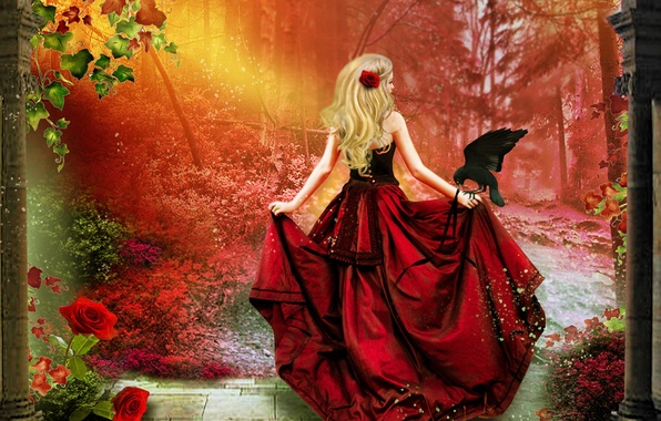 Picture leaves, girl, trees, flowers, bird, hair, back, rose, train, art, blonde, corset, Raven, red dress, …
