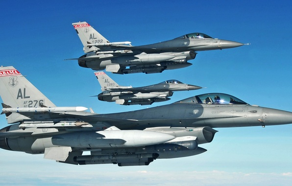 Picture the sky, fighters, aircraft, UNITED STATES AIR FORCE, General Dynamics F-16 Fighting Falcon, light, the …