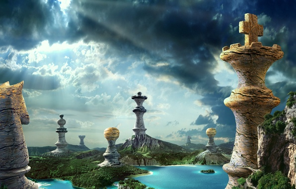 Picture forest, the sky, nature, lake, stone, waterfall, chess, chess pieces
