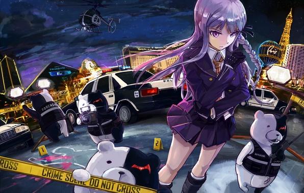 Picture girl, blood, police, anime, murder, art, girl, night city, detective, anime, Vegas, crime, I monok, …