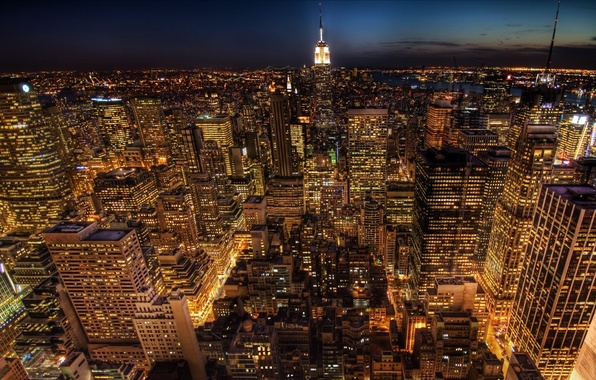 Picture life, lights, road, New York, America, skyscrapers, United States