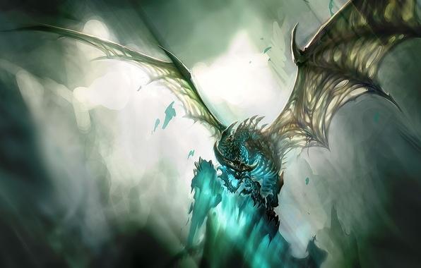 Picture light, blue, wings, Dragon, skeleton