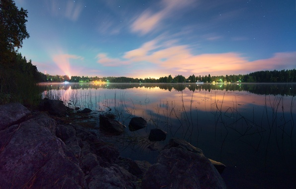 Picture night, lights, lake, reflection, shore, stars