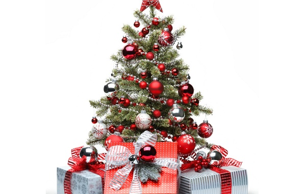 Picture winter, red, balls, star, tree, gifts, New year, box, New Year