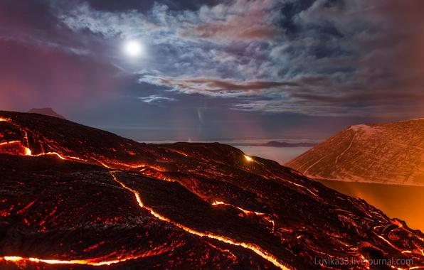 Picture sea, the sky, stars, clouds, light, night, rocks, the volcano, heat, lava, light, moon, rock, …