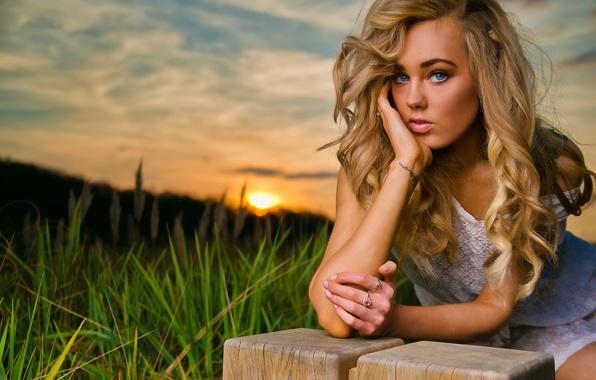 Picture Girl, Nature, Grass, Beautiful, Model, Blue, Green, Sun, Sunset, Eyes, Blonde, Summer, Face, Lips, Portrait, …