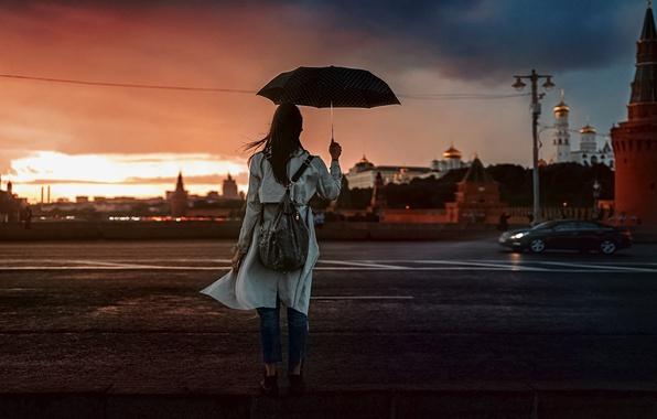 Picture Sunset, Girl, The Kremlin, Umbrella, Beautiful, Natalia KVINT