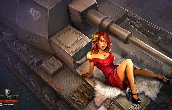 Photo wallpaper Dicker Max, Nikita Bolyakov, art, the tank, SAU, World of Tanks, figure, girl, in red, ...