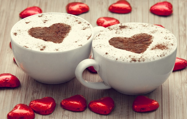 Picture red, background, widescreen, Wallpaper, mood, heart, figure, coffee, chocolate, mug, Cup, wallpaper, mugs, heart, cappuccino, …