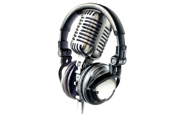 Picture headphones, white background, microphone