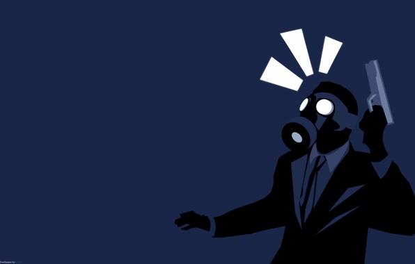 Picture gun, people, gas mask, tuxedo
