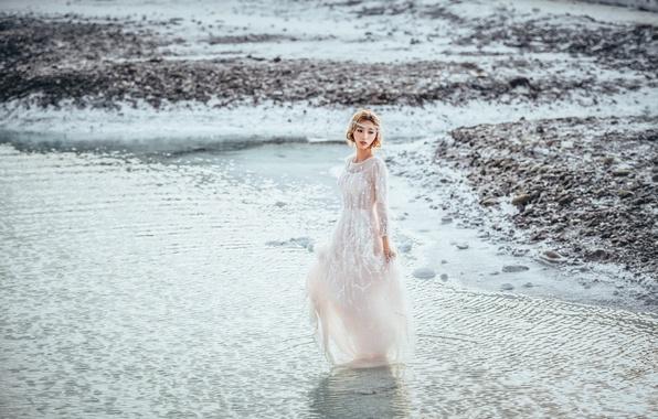 Picture water, girl, shore, dress, walk