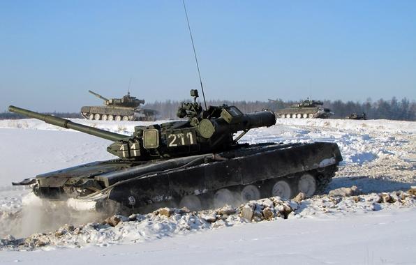 Picture winter, snow, tank, Russia, T-80 BV