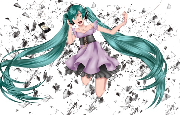 Picture girl, fragments, ipod, headphones, art, player, wire, Hatsune Miku, Vocaloid, Vocaloid, Hatune Miku
