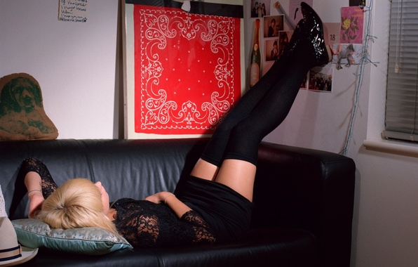 Picture BLONDE, DRESS, STOCKINGS, SOFA, TIGHTS, BLACK, KNEE
