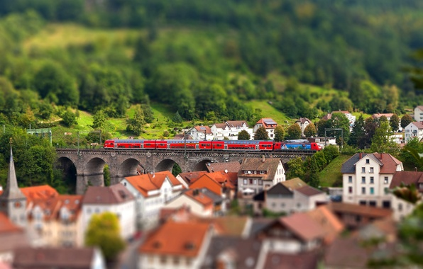 Picture the city, train, home, Europe, tilt shift