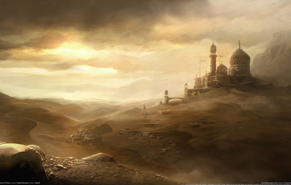 Picture sand, the sky, the city, the wind, desert, dust, prince of persia