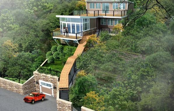 Picture photo, Nature, Design, House, 3D Graphics