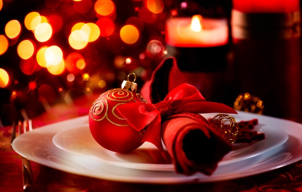 Picture winter, red, lights, table, ball, candles, New Year, plate, Christmas, dishes, Christmas, holidays, napkin, bokeh, …