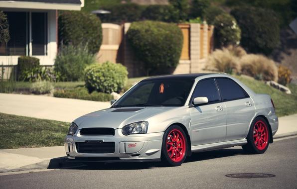 Picture house, Subaru, Impreza, WRX, silver, the bushes, Subaru, Impreza, silvery, STi