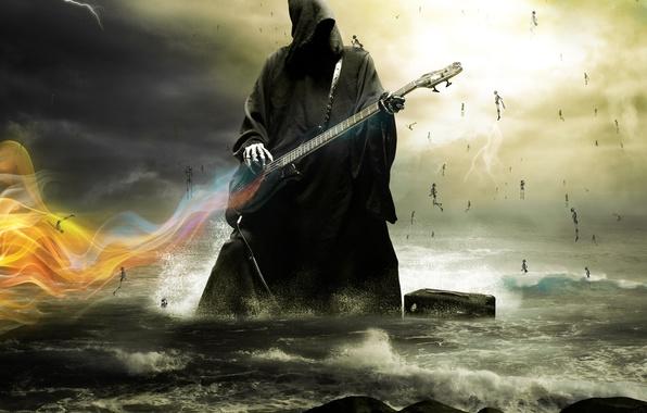 Picture sea, lightning, guitar, Death